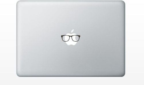 Glasses Funny Cute Decal Sticker for Apple MacBook Laptop pro and air 13' 15' 17' Models Black