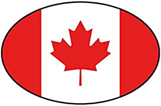 """MAGNET Euro Oval Canadian Flag Canada Magnetic Vinyl Car Fridge Sticks to any Metal Surface 5"""""""