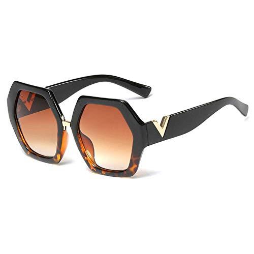 ZRTYJ Sonnenbrille Weiße Polygon-Sonnenbrille für Frauen-großes Rahmen-Leopard-Muster-sechseckige Sonnenbrille für Damen schwärzen Geburtstagsgeschenk