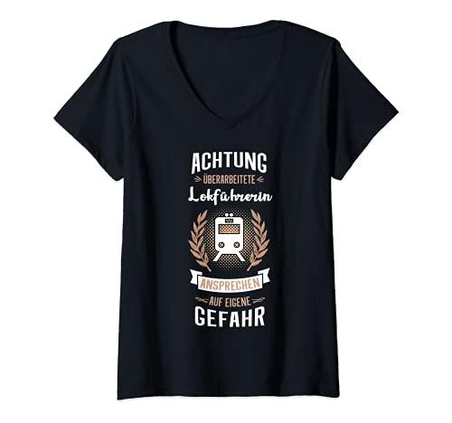 Mujer Guía de locomotora revisada con texto divertido. Camiseta Cuello V
