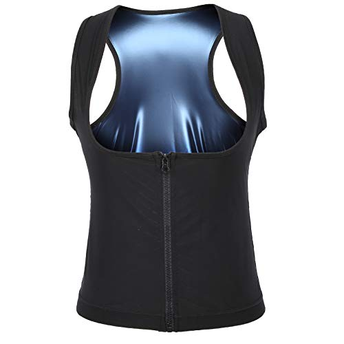 Corsé de entrenador de cintura para mujer, camiseta sin mangas de sauna, chaleco con cremallera, calefactor, sudor, moldeador de cuerpo, transpirable, elástico, quema de grasa(L/XL)
