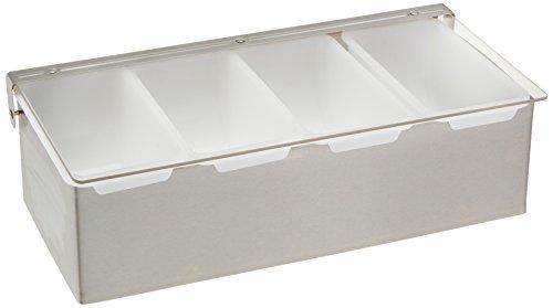 Winco 4 Comp Condiment Dispenser, Medium, Stainless Steel