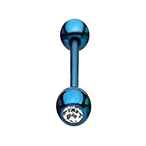 Piercingfaktor Barbell Stab Piercing Hantel Stecker Zungenpiercing Zunge Intim Brust Oral Ohr Tragus Helix Ohrpiercing Kugel mit Kristall Stein Blau