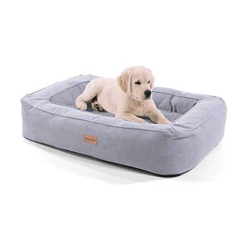 brunolie Bruno mittlerer Hundekorb, waschbar, hygienisch und rutschfest, orthopädisches Hundebett mit Kissen und atmungsaktivem Obermaterial in Grau, Größe M (80 x 55 x 17 cm)