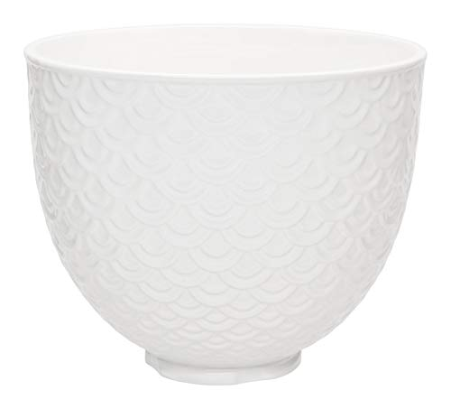 KitchenAid Ceramic Bowl Mermaid lace White 5KSM2CB5TWM Keramikschale, Keramik, 4.7 liters, Meerjungfrau-Spitze, Weiß