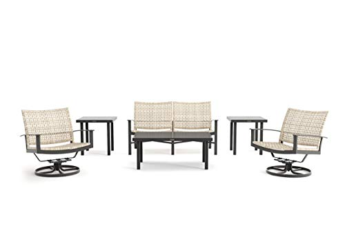 Winston Jasper - 6-Piece Loveseat, Swivel Lounge Chair and Side Table Seating Set - Textured Pewter Frame - Beechwood Weave