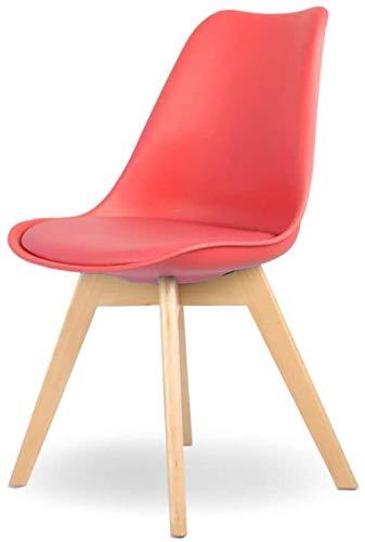 JYHS Silla de comedor ergonómica de madera maciza, silla de escritorio para el hogar, moderna y minimalista, silla de ordenador, azul, amarillo, color: amarillo cómodo (color: rojo)