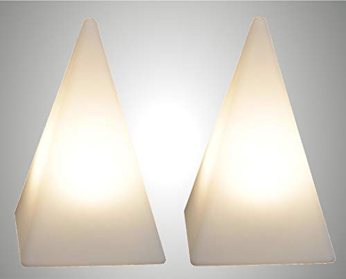 Trango 2er Pack IP65 Gartenleuchte TG7231-60B2 Außenlampe, Leucht-Figur Pyramide, Leucht-Pyramide 64cm weiß inkl. 5 Meter Zuleitungskabel & 2x E27 LED Leuchtmittel, Wegbeleuchtung, Außenleuchte