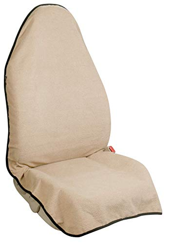 Leader Accessories Beige Waterproof Sweat Towel One Front Bucket Seat Cover for Car Trucks SUV Machine Washable Fitness Athletes Pets Gym