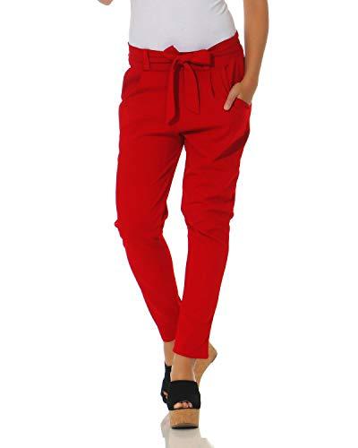 ZARMEXX Damen Hose Stoffhose Freizeithose mit integriertem Schleifengürtel High Waist Business Casual rot 2XL (44)