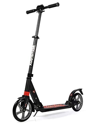 MOTORAUX 200MM Wheel Scooter, Klappbarer City-Roller Höhenverstellbar für Erwachsene und Kinder (Schwarz)