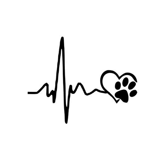 ECG Heart Dog Footprint Car-Styling Cuerpo Ventana Adhesivos Reflectantes Etiqueta Decoración - Negro