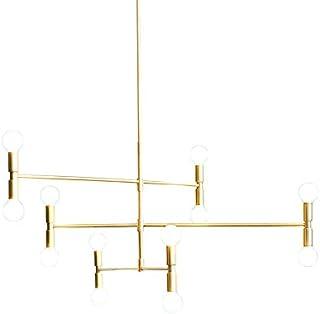 YOKA Modern Pendant Lighting Ceiling Chandelier Hanging Lamp with 12 Lights Fixture Flush Mount, Gold