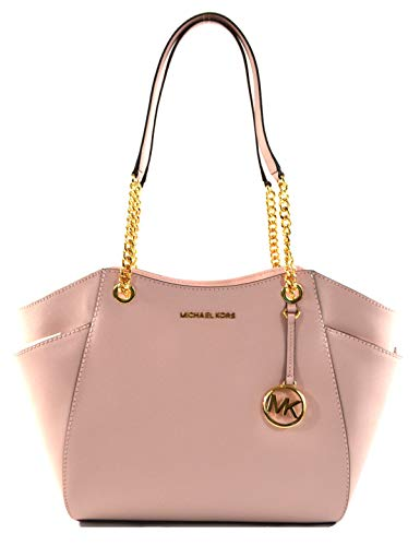 "Saffiano Leather with matching trim; Top zip closure Double handles with leather & chains with 10""shoulder drop MK Logo medallion detail on front; Polished gold tone hardware; Exterior side pockets Michael Kors signature lining; Interior: 1 zippered ..."