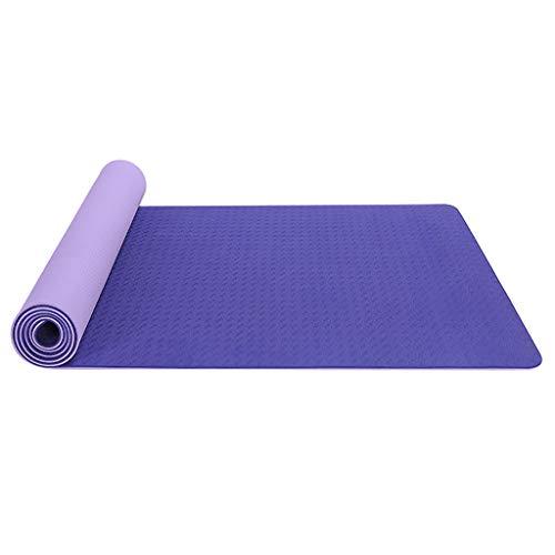 Andouy Yogamatte Fußmatten aus Hochdichtem Schaumstoff rutschfest Zweifarbig Trainingsmatte – 183X61X0,6CM – für Gym Yoga Sport Gymnastik Fitness Pilates(183X61X0.6CM.Lila)