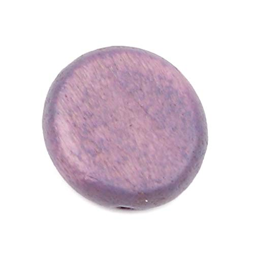 SiAura Material - 20 cuentas de madera de color lila de 15 mm con agujero de 1,8 mm I forma plana redonda I para manualidades, enhebrar y pintar.