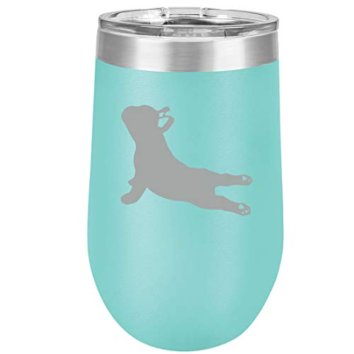 16 oz Double Wall Vacuum Insulated Stainless Steel Stemless Wine Tumbler Glass Coffee Travel Mug With Lid French Bulldog Yoga (Teal)