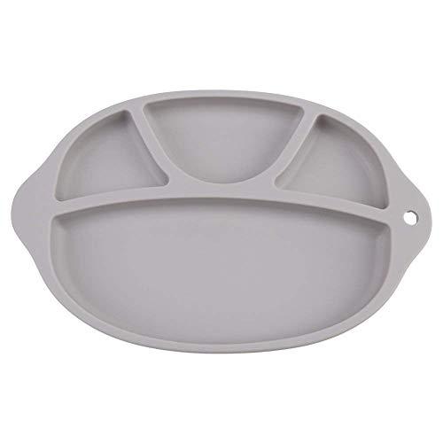 Silicone Platen, Re-Play Verdeeld Plates Feeding tafelgerei BPA Vaatwassers Micro Koelkast Kluis Skidproof Unbreakable Kids Feeding Tray (Kleur: Roze) (Color : Gray)