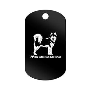 Mister Petlife I Love My Alaskan Klee Kai Engraved Keychain/GI Tag akk Black 3