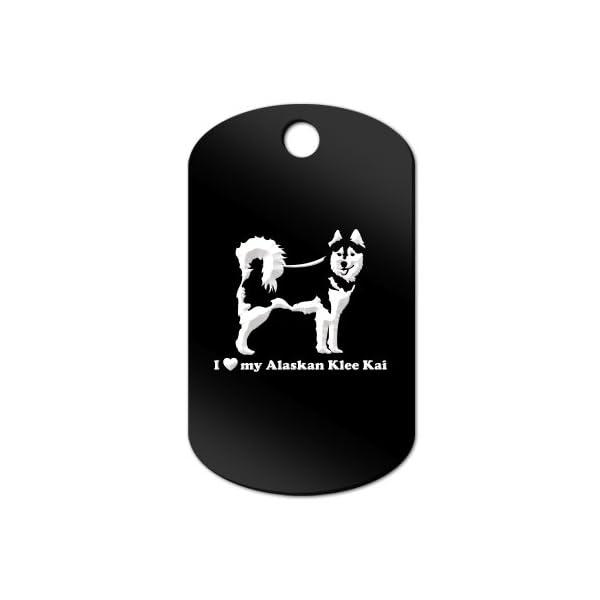 Mister Petlife I Love My Alaskan Klee Kai Engraved Keychain/GI Tag akk Black 1