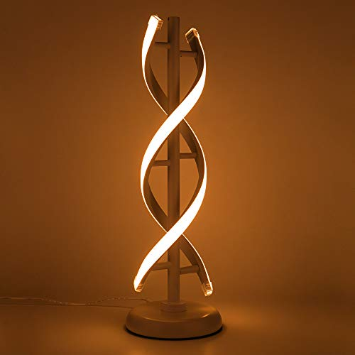 ELINKUME Double Spiral LED Table Lamp, Creative Double Helix Lampbody matchs Metal Base, 12W Warm...