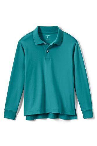 Lands' End School Uniform Little Kids Long Sleeve Interlock Polo Shirt Small Teal Breeze