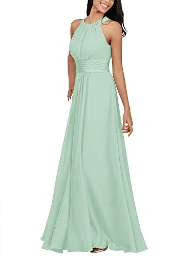 Alicepub Chiffon Mint Green Bridesmaid Dresses Long Formal Party Dress for Women Special Occasion Halter, US16