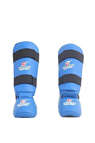IWIN Blue Karate/Taekwondo PU Shin Guard for Leg and Foot Protection (Small)