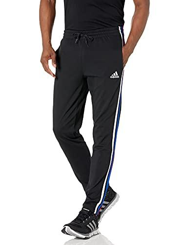adidas mens Essentials Tapered Open Hem 3-Stripes Pants Black / Scarlet / Team Royal Blue / White Medium