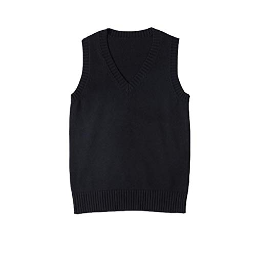 WOOKIT Chaleco de Uniforme JK de Color Liso Cuello Pico Chaleco de Punto algodón Abrigo Estilo japonés Negro-XXL