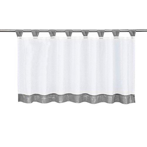 Tendine da finestra per cucina, tende a pacchetto velate da appendere, confezione da 1, Tessuto, grau, HxB 45x90cm