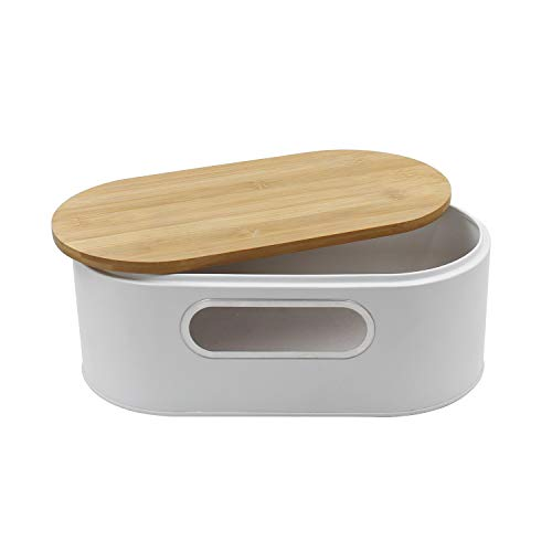 4W Bread Box for Kitchen Countertop, Metal Bread Container with Cutting Board Lid Bread Storage for Pastries, Dinner Rolls, Homemade Bread - White