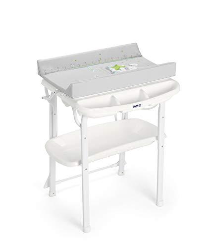 CAM Bade-Wickelkombination AQUA SPA | Antikipp-Sicherheitssystem | Babybadewanne inkl. Babydusche | Wickelkombination | Made in Italy | (Häschen)