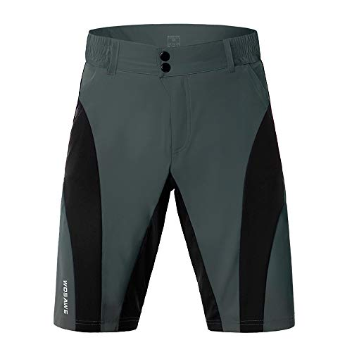 WOSAWE Mens Cycling Shorts Baggy MTB Shorts Waterproof Loose-fit Bottoms for Outdoor Cycling Running Gym Training (BC131 Grey M)