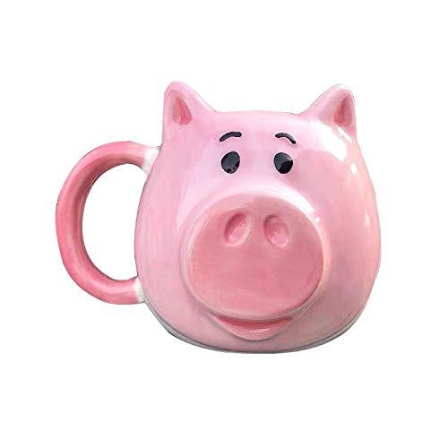 LDJING Taza De Cerámica De Marca De Cerdo Pintada A Mano Pink Dudu Lucky Pig Taza Creativa Tridimensional Regalo De Vacaciones Para Novia-400Ml