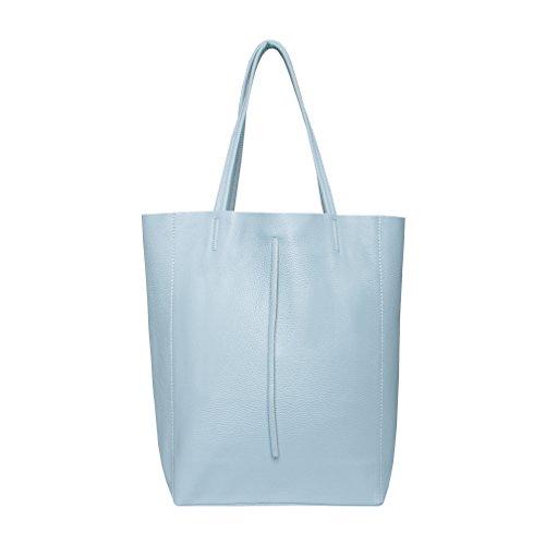 SKUTARI® Leder Vittoria Classic - Damen Shopper aus echtem Leder, Handtasche mit eingenähter Innentasche, handgefertigt in Italien, Fashion Tragetasche mit langen Griffen, 37 x 38 x 14 cm (Hellblau)