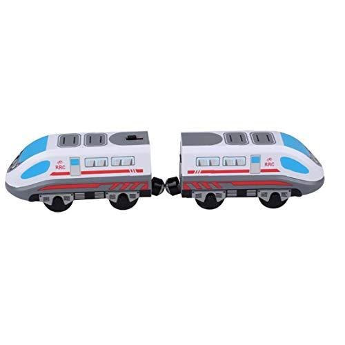 OMMO LEBEINDR Tren de Juguete del Carro de Pista magnética Modelo Locomotora eléctrica de Alta Velocidad de Madera de Juguete de Regalo con Pilas para Niños Niños
