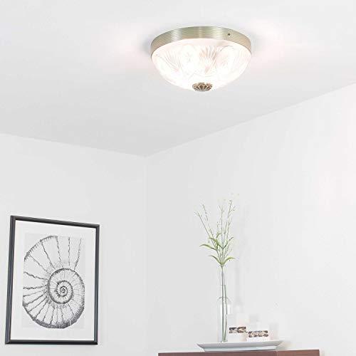 Edle Deckenleuchte in Messing 2xE27 Glas Jugendstil Deckenlampe Beleuchtung Wohnzimmer Esszimmer Schlafzimmer
