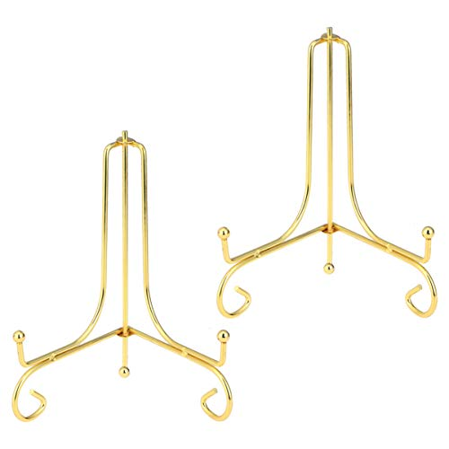NUOBESTY - Placa de caballete de hierro expositor para marco, soporte para escritorio, portaparabólicos decorativos, expositor para marco de pizarra, 2 unidades de 4 pulgadas doradas