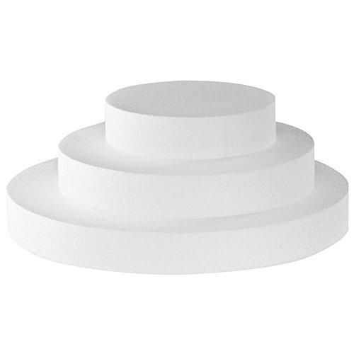 Adecuado para la decoración de pasteles de práctica Apto para la realización de tartas y bollos de azúcar Esta hecho de poliestireno Tiene un diámetro de 40 cm