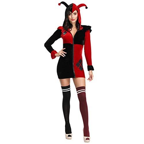 YyiHan Cosplay Disfraz, El Rojo y el Negro Color a Juego Circo Prendas de Vestir Prendas de Vestir Maquillaje de Payaso de Halloween Cosplay Traje del Partido Ropa Puesta en Escena de los Hombres