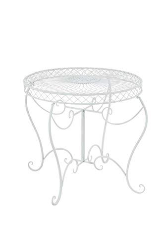 CLP Eisentisch Sheela im Jugendstil I Gartentisch mit geschwungenen Beinen und kunstvollen Verzierungen I erhältlich, Farbe:weiß