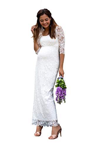 Nanger Spitze Mutterschaft Hochzeitskleider Schwanger mit Halb Ärmel Brautkleider Wedding Dress Pregnant Elfenbein 42