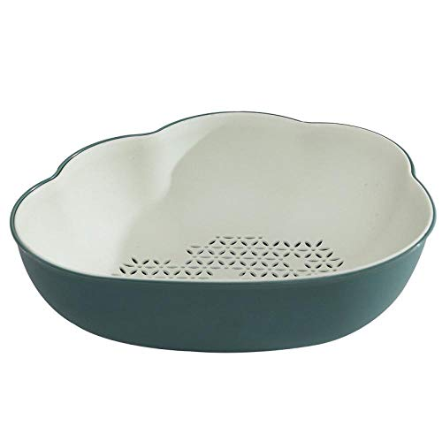 portafrutta SFBBBO Tagliaverdure da cucina con cestello di scarico Cesto di frutta in plastica a doppio strato per lavare la verdura 3
