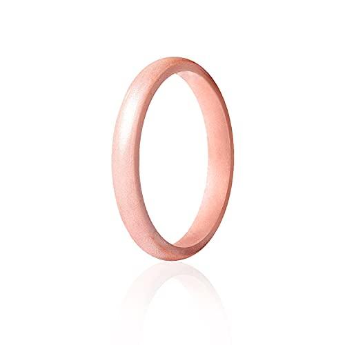 ROQ Anillo de boda de silicona para mujer, línea fina y punta, apilable, alianzas de boda de goma, 8, 4 y paquetes individuales, 6 -6.5 (16.5mm), Punto: Oro Rosa