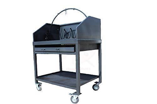 Barbecue con Ruote - in Ferro - a Legna - Made in Italy