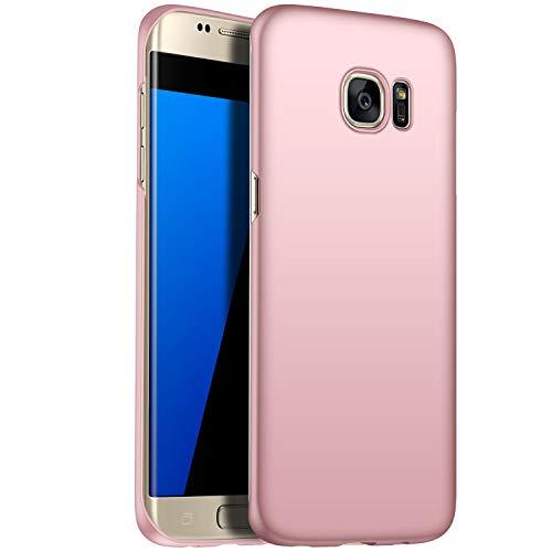N+A Amosry Compatible con Funda Samsung Galaxy S7 Edge, Slim Fit, Anticaída, Resistencia a la fricción, Estuche rígido, para Samsung Galaxy S7 Edge (Oro Rosa)
