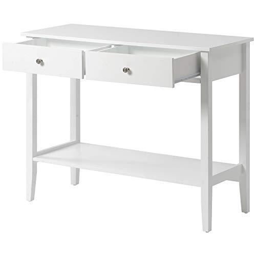 BTM Konsolentisch mit Zwei Schubladen, Arbeits Beistelltisch, Flurtisch mit Gitterablage mit Kiefernholzbeinen für das Wohnzimmer, Schlafzimmer, Flur, Arbeitszimmer für das Arbeitszimmer (Weiß)