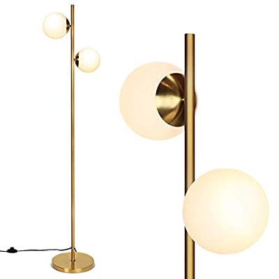 """Tangkula 65"""" Sphere LED Floor Lamp with 2 LED Bulbs, 2 Head Frosted Glass Globe Floor Lamp with Foot Switch, Modern Tall Pole Industrial Rustic Standing Lamp for Living Room Bedroom"""