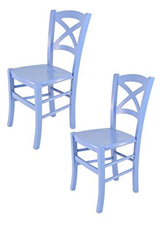 sedie sala da pranzo azzurre Tommychairs - Set 2 sedie modello Cross per cucina bar e sala da pranzo